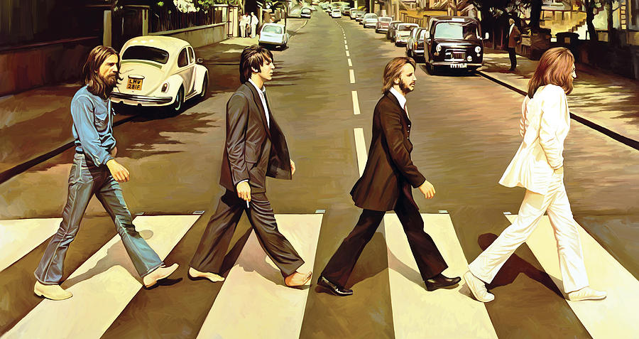 The Beatles Abbey Road Paintings Painting - The Beatles Abbey Road Artwork by Sheraz A