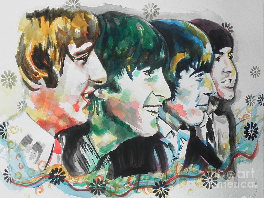 Watercolor Painting Painting - The Beatles 01 by Chrisann Ellis