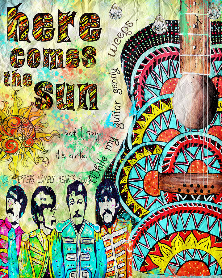 Beatles Painting - The Beatles Here Comes The Sun by Tara Richelle