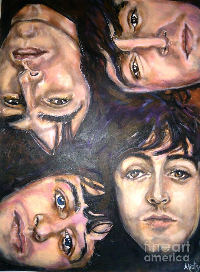 The Beatles John Lennon Ringo Starr George Harrison Paul Mccartney Sixties Painting - The Beatles Inspired Portrait by Misty Smith