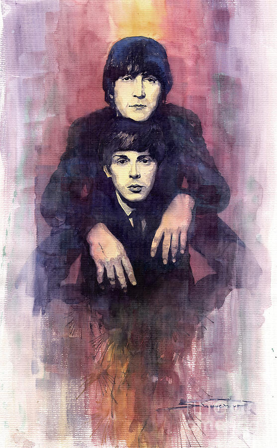Watercolour Painting - The Beatles John Lennon And Paul Mccartney by Yuriy  Shevchuk