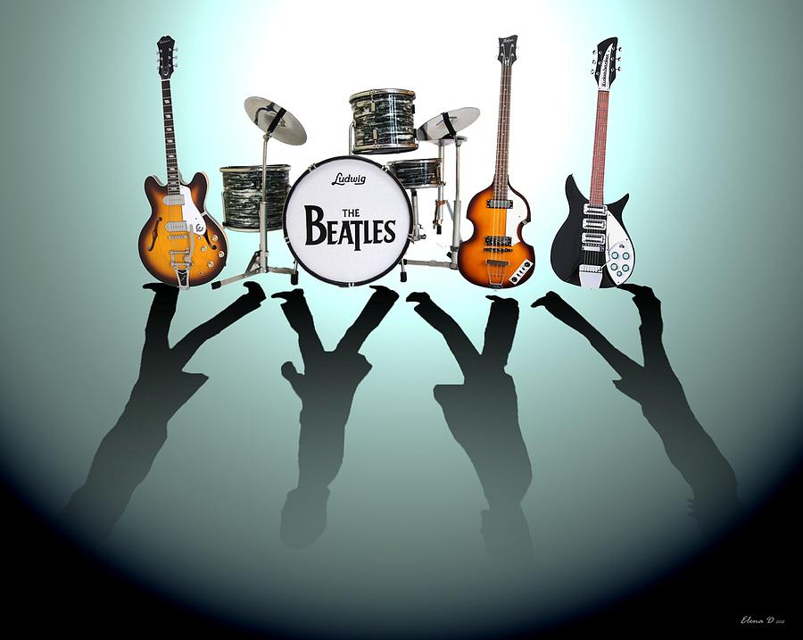 The Beatles Digital Art - The Beatles by Lena Day
