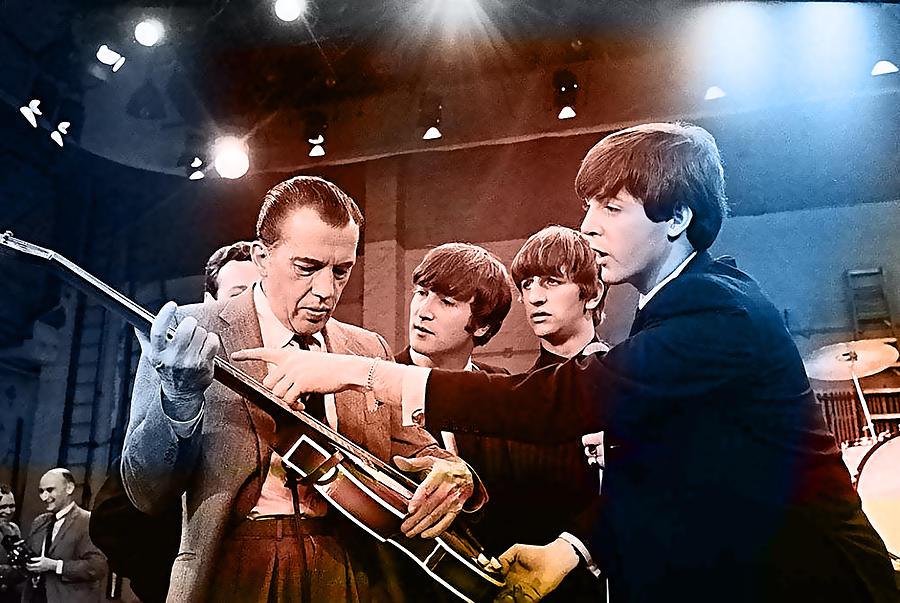Beatles Paintings Mixed Media Mixed Media - The Beatles On The Ed Sullivan Show by Marvin Blaine