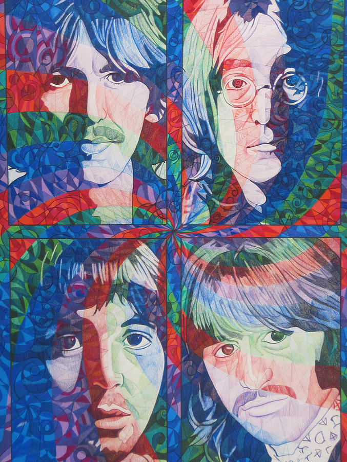 The Beatles Drawing - The Beatles Squared by Joshua Morton