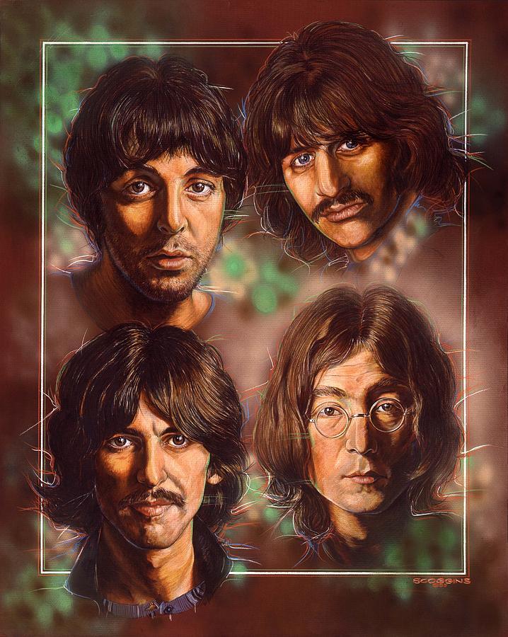 Celebrities Painting - The Beatles by Tim  Scoggins