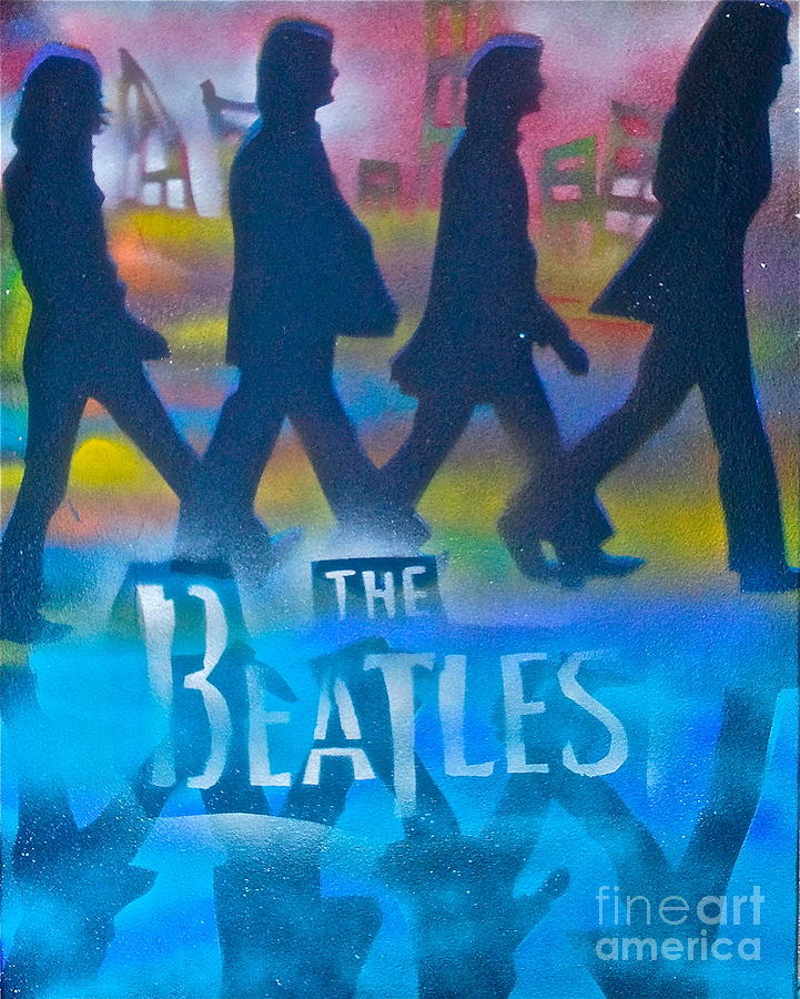The Beatles Painting - The Beatles Walk by Tony B Conscious