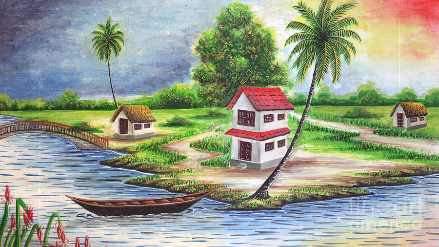 village painting pictures  The Beautiful Village Painting by GLeaf Jaffna