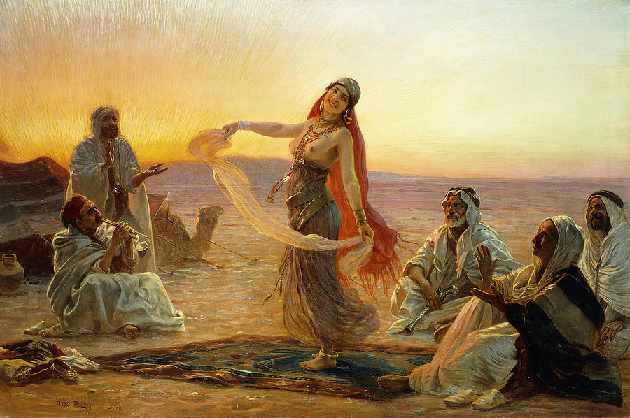 African Painting - The Bedouin Dancer by Otto Pilny