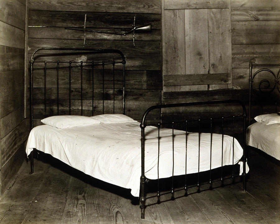 1930s Candid Photograph - The Bedroom Of Floyd Burroughs, Cotton by Everett