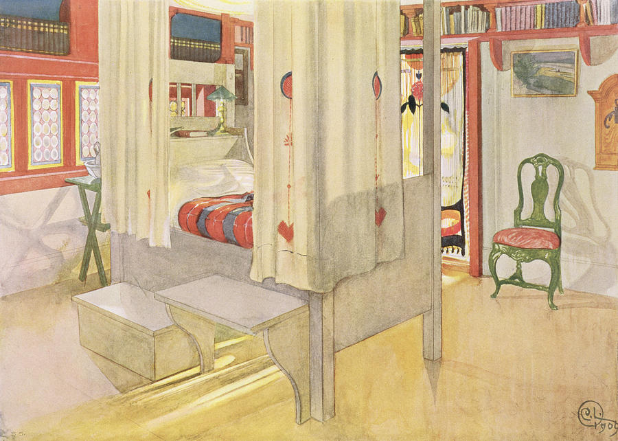 Interior Drawing - The Bedroom, Published In Lasst Licht by Carl Larsson