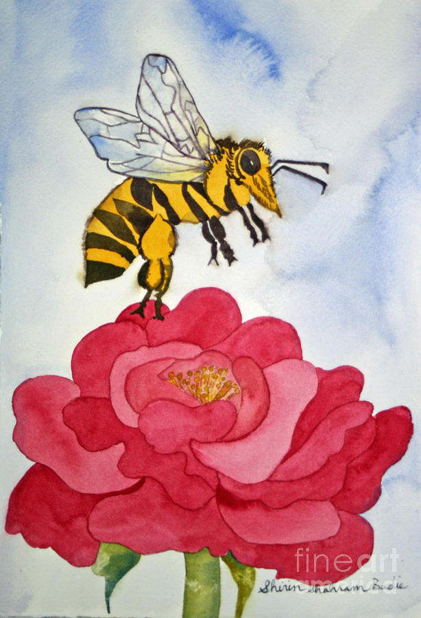 Bee Painting - The Bee And The Rose by Shirin Shahram Badie