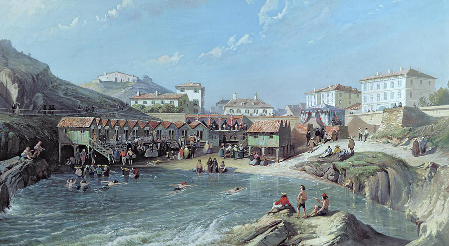 Bay Painting - The Beginning Of Sea Swimming In The Old Port Of Biarritz  by Jean Jacques Alban de Lesgallery