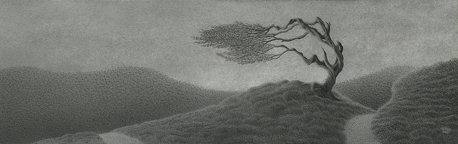 Lonely Tree Drawing - The Bell Of Song Remembered by Mark  Reep