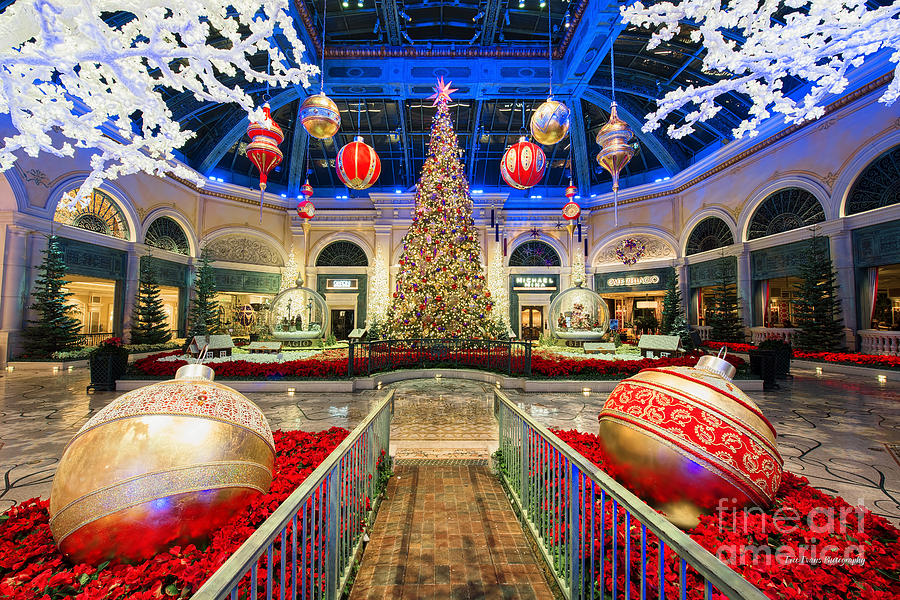 The Bellagio Christmas Tree And Decorations Photograph By Aloha Art