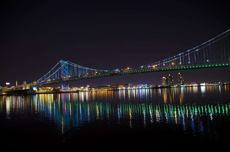 Ben Photograph - The Ben Franklin Bridge At Night by Bill Cannon