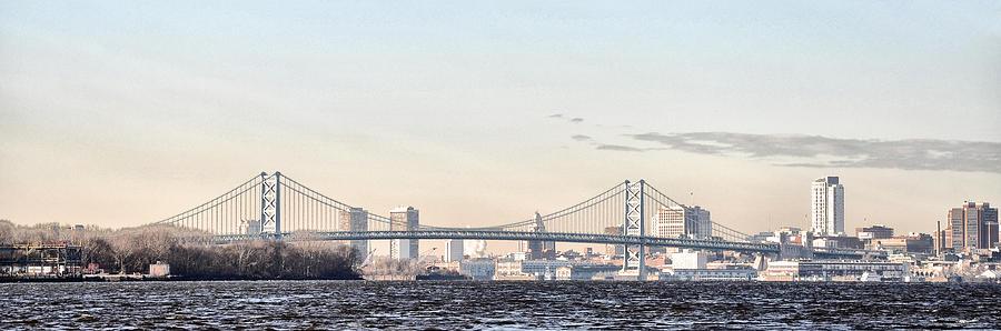 Ben Photograph - The Ben Franklin Bridge From Penn Treaty Park by Bill Cannon