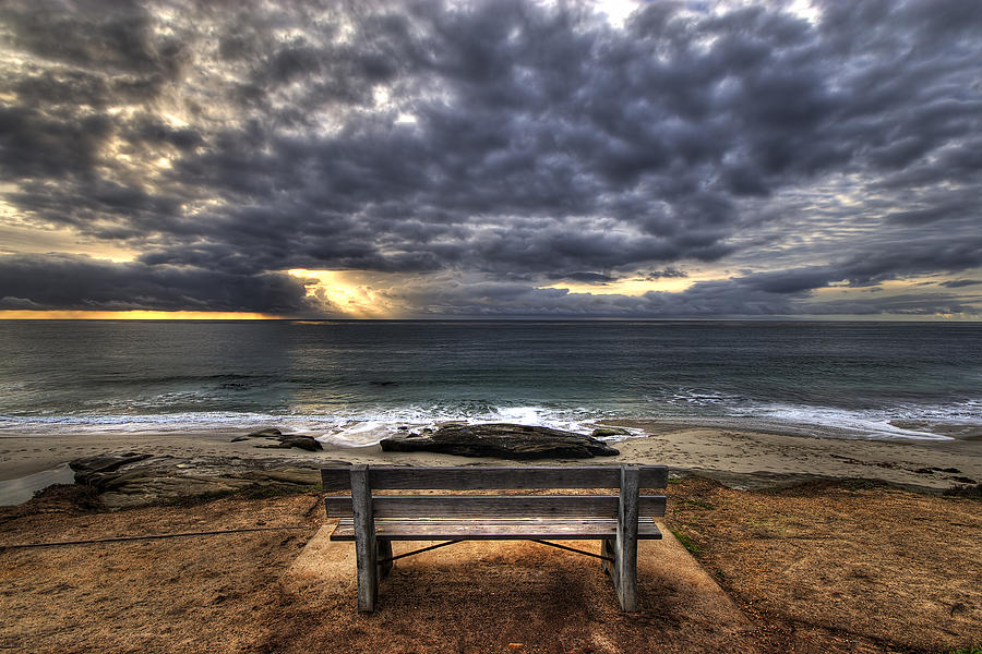 Ocean Photograph - The Bench by Peter Tellone