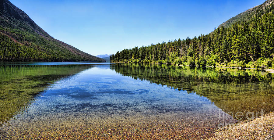 Reflection Photograph - The Best Beach In Glacier National Park Panorama 2 by Scotts Scapes