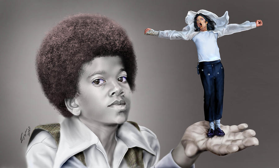 Young Michael Jackson Painting - The Best Of Me - Handle With Care - Michael Jacksons by Reggie Duffie