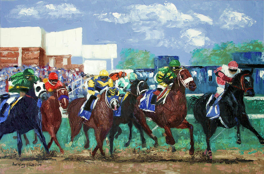 Horse Framed Prints Painting - The Bets Are On Again by Anthony Falbo