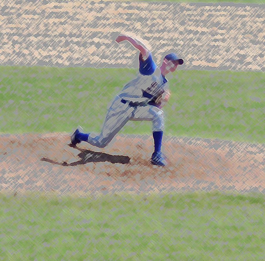 Sports Photograph - The Big Baseball Pitch Digital Art by Thomas Woolworth