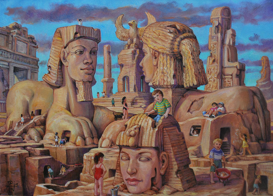 Fantasy Painting - The Big Sand Box by Henry David Potwin