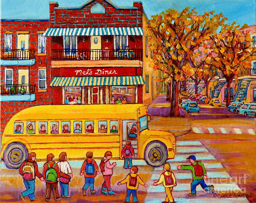 Yellow School Bus Painting - The Big Yellow School Bus Street Scene Paintings Of Montreal by Carole Spandau