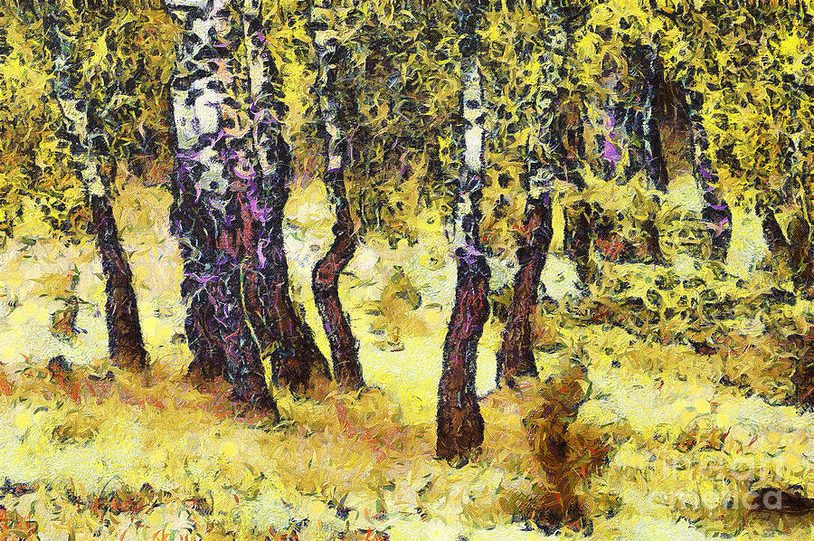 Odon Painting - The Birch Forest by Odon Czintos