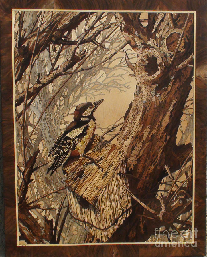 The Bird Sculpture - The Bird And Tree Marquetry Wood Work by Persian Art