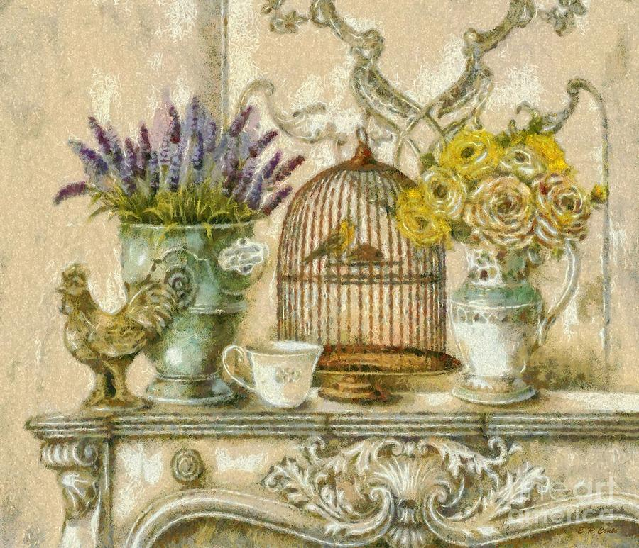 Still Life Painting Painting - The Birdcage by Elizabeth Coats