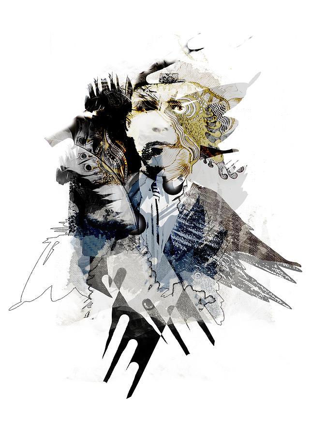 Collage Digital Digital Art - The Birdman by Aniko Hencz