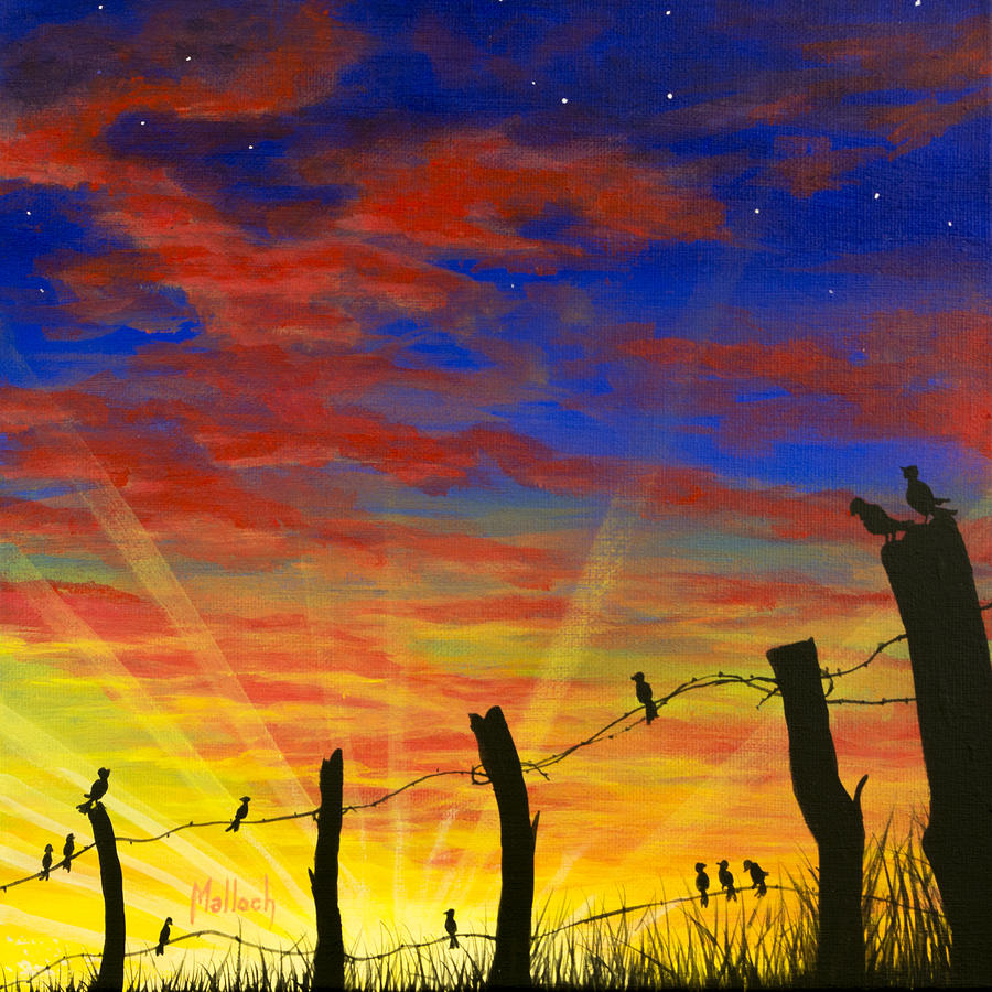 The Birds Red Sky At Night Painting By Jack Malloch