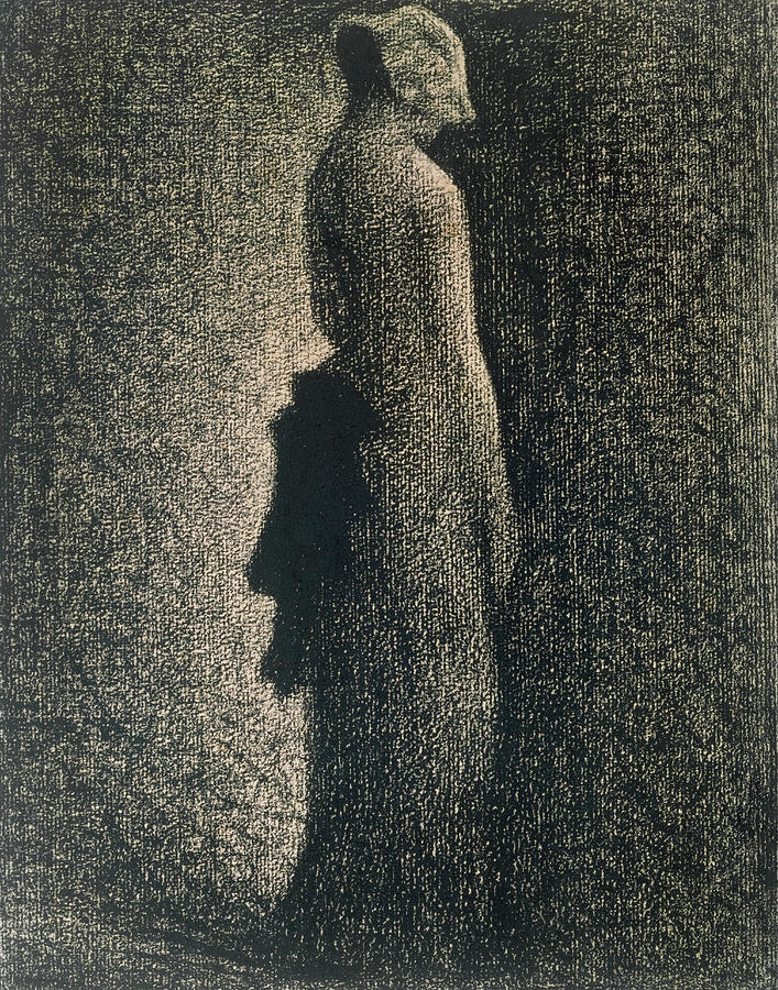 Ribbon Drawing - The Black Bow by Georges Pierre Seurat