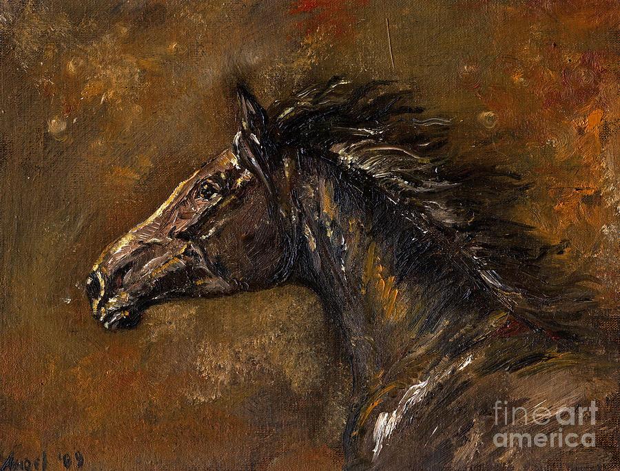 Horse Painting - The Black Horse Oil Painting by Angel Ciesniarska