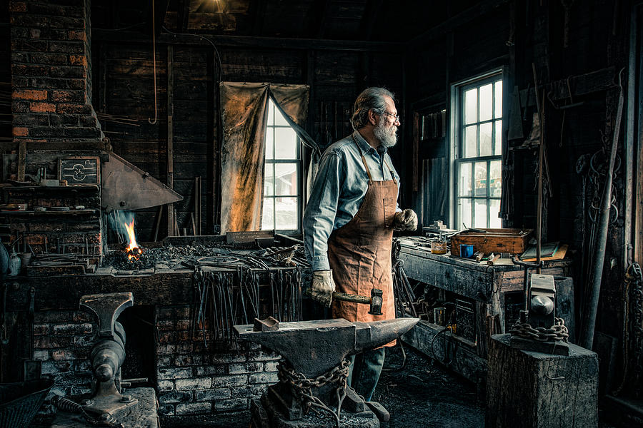 Occupations Photograph - The Blacksmith - Smith by Gary Heller