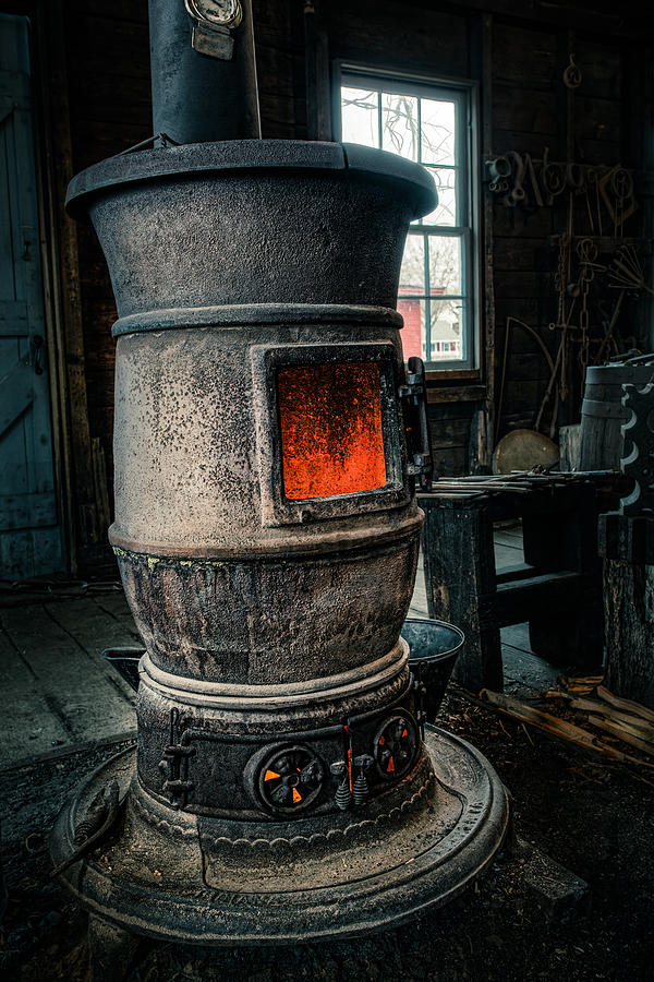 Wood Furnace Photograph - The Blacksmiths Furnace - Industrial by Gary Heller