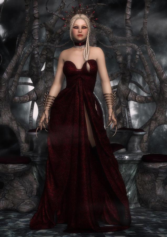 Queen Digital Art - The Blood Queen by Rachel Dudley