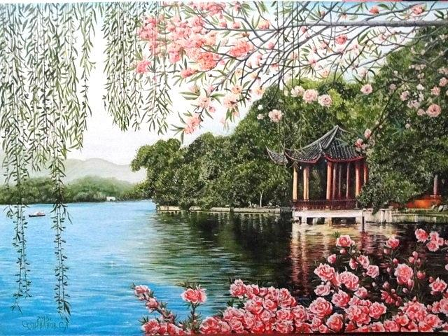 Blooming Painting - The Blooming Sakura by Sergey Selivanov