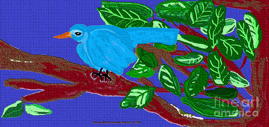 The Blue Bird Painting by Sherry  Hatcher