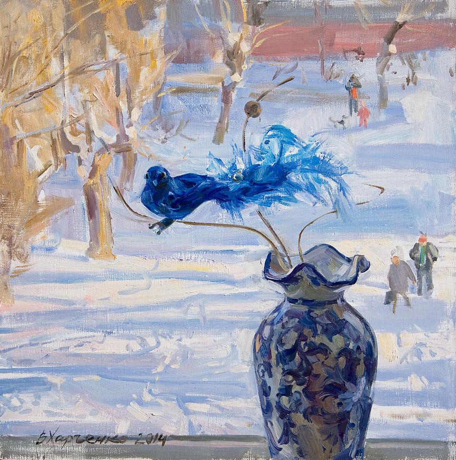 Winter Painting - The Blue Bird by Victoria Kharchenko