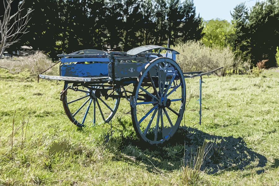 Colourful Photograph - The Blue Cart by Gary Cowling