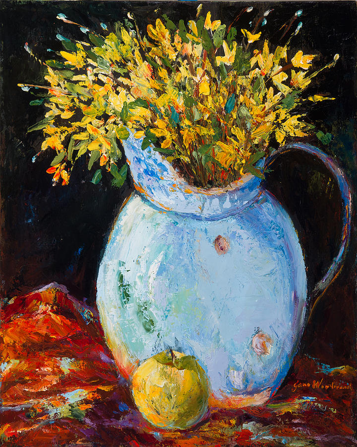 Blue Painting - The Blue Clay Pot with Apple by Jane Woodward