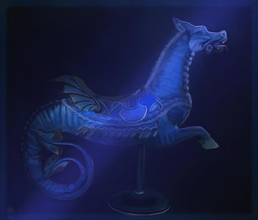Carousel Ride Digital Art - The Blue Dragon by Hazel Billingsley