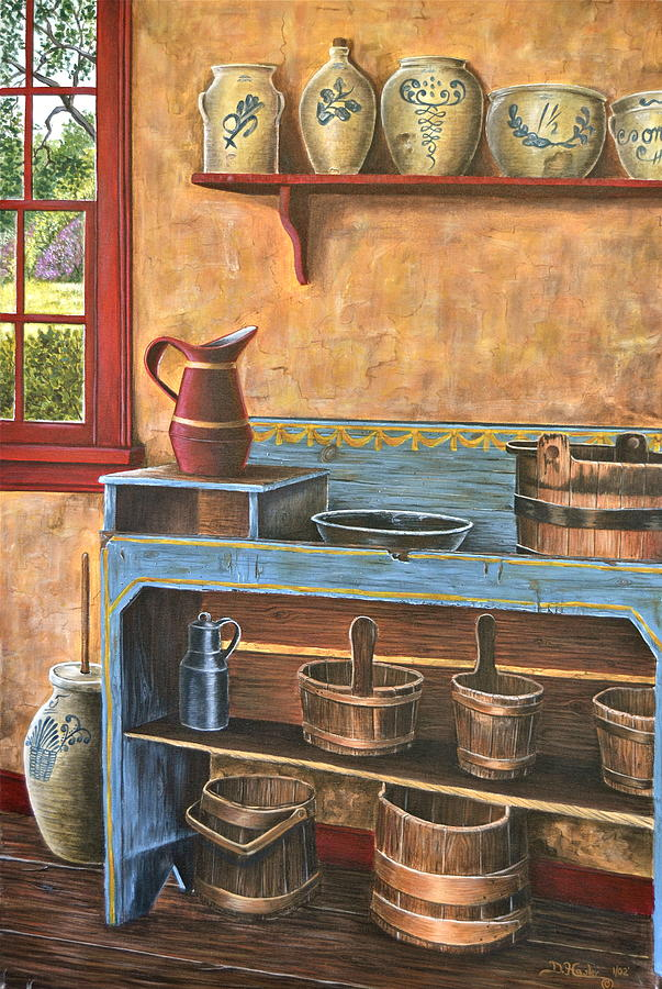 Country Painting - The Blue Dry Sink by Dave Hasler