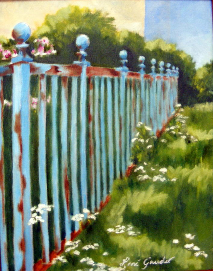 Landscape Painting - The Blue Fence by Lenore Gaudet