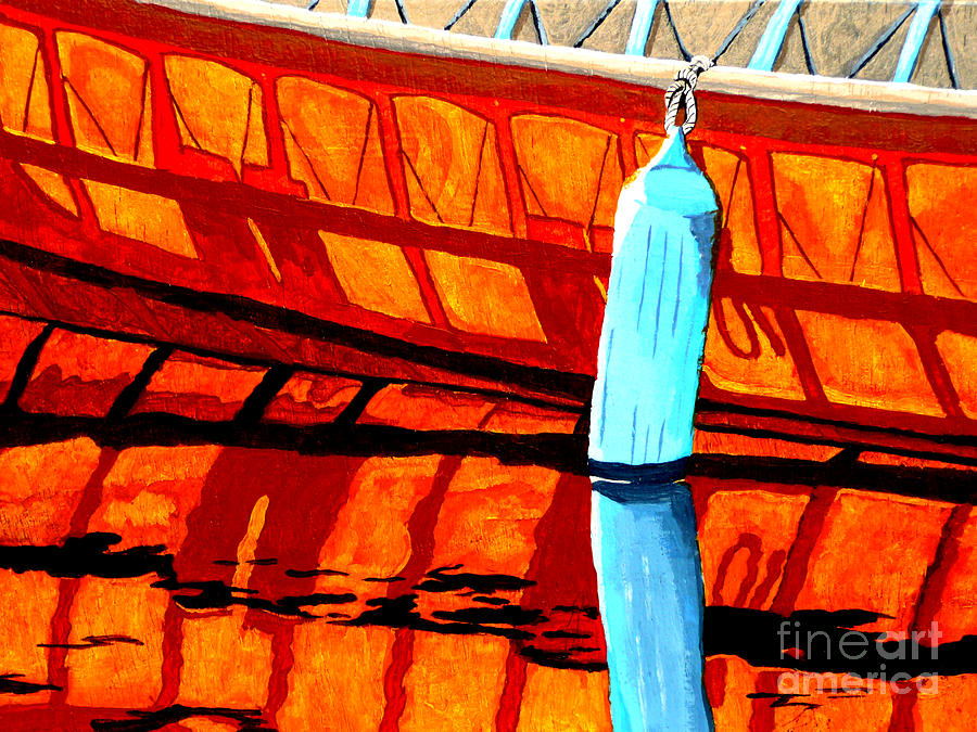 Canoe Painting - The Blue Fender by Anthony Dunphy