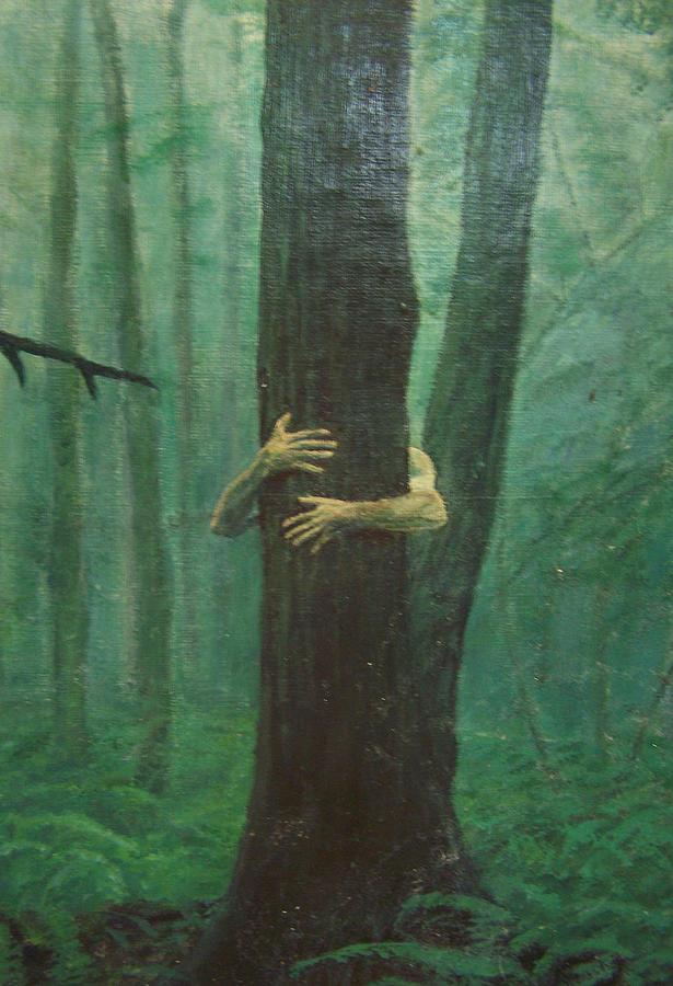 Realism Painting - The Blue-green Forest Detail by Derek Van Derven