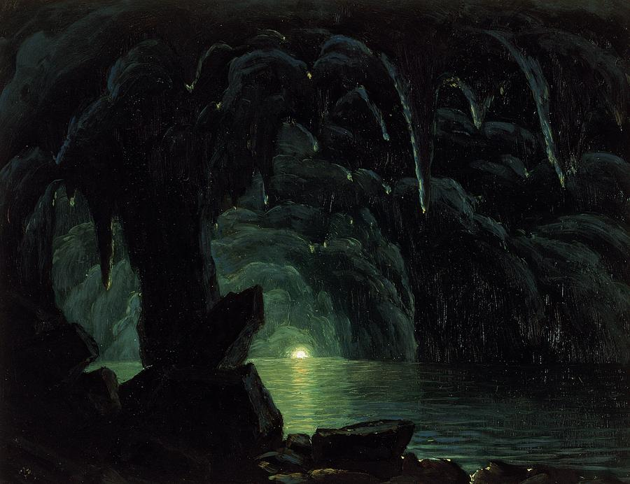 The Blue Grotto Painting - The Blue Grotto by Albert Bierstadt