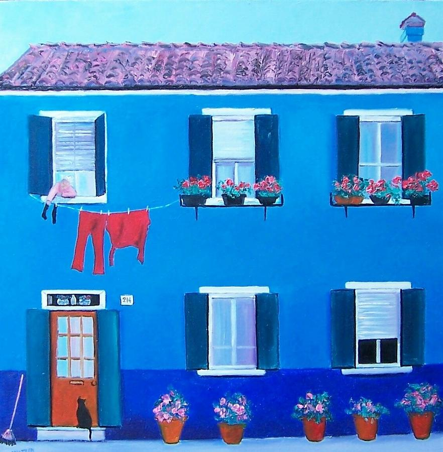 Blue House Painting - The Blue House Burano by Jan Matson
