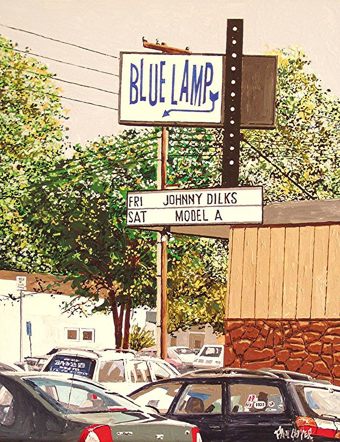 Sacramento Painting - The Blue Lamp In Midtown by Paul Guyer